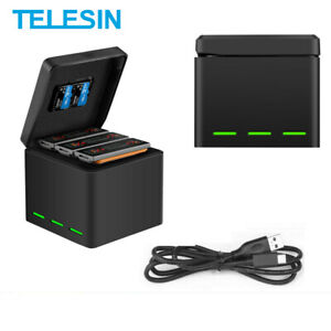 TELESIN-For-GoPro-DJI-Osmo-Action-Battery-Charger-3-Solts-Charging-Storage-Box