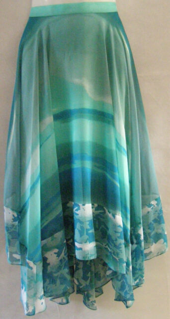 MARKS AND SPENCER PER UNA CHIFFON WAVE PATCH ASYMMETRICAL HEM  SKIRT 8 TO 20