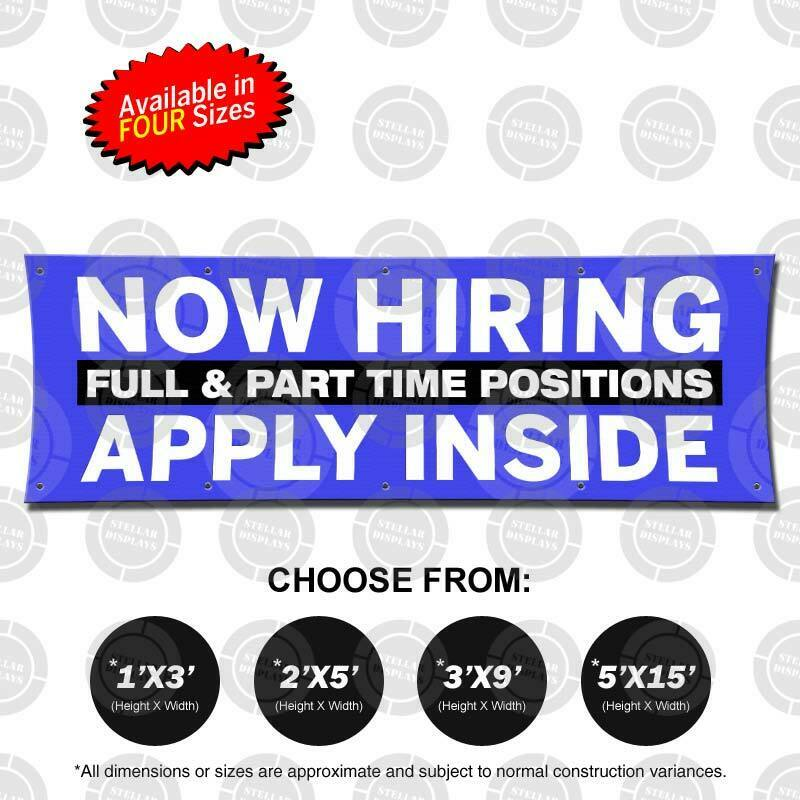 NOW HIRING APPLY INSIDE Banner Now Open Jobs Poster Business Display Employment 2