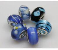 "Set of 6 ""Blue"" Murano Glass Beads Spacer Charm for Snake Chain Bracelets"