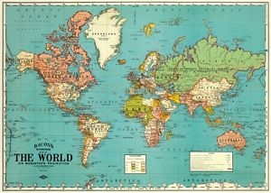 World map vintage style poster cavallini co 20 x 28 wrap ebay image is loading world map vintage style poster cavallini amp co gumiabroncs Image collections