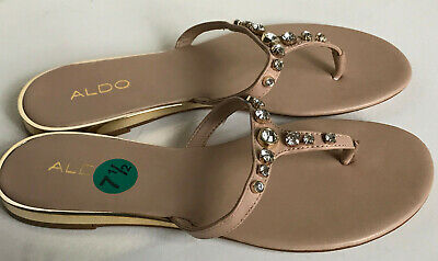 14548d92a581 ALDO NUDE BROWN RHINESTONES STRAP SANDALS SHOES SLIPPERS 7.5 38 SALE