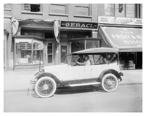 Couple With Dog In Allen Touring Car Antique Auto Silver Halide Photo