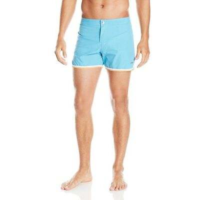 "$135 PARKE & RONEN Swim Trunks 4"" Solid Mykonos Dry-Cloth SKY BLUE ( 36 )"