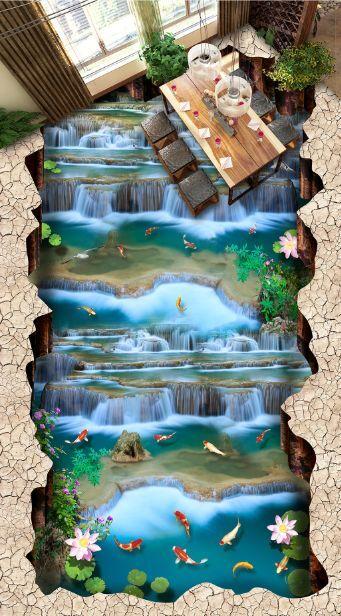 3D Wasserfälle Fisch 5787 Fototapeten Wandbild Fototapete BildTapete Familie DE