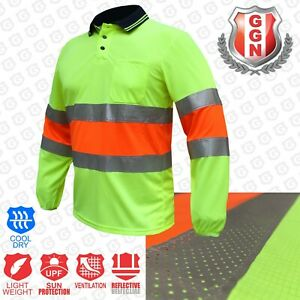 HI-VIS-Work-Polo-SHIRT-BIO-MOTION-DAY-NIGHT-NEW-BREATH-TAPE-SAFETY-LONG-SLEEVE