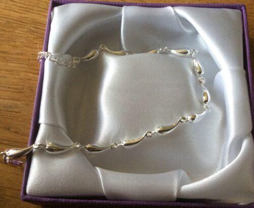 SB 19 Silver bracelet /'horn of plenty/' adjustable chain 925 stamp Plum UK BOXED