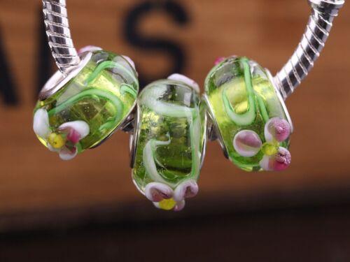 HOT 10pcs Murano Lampwork Glass Charm Big Hole Beads Fit European Bracelet
