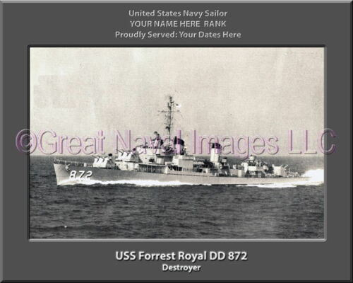 USS Forrest Royal DD 872 Personalized Canvas Ship Photo Print Navy Veteran Gift