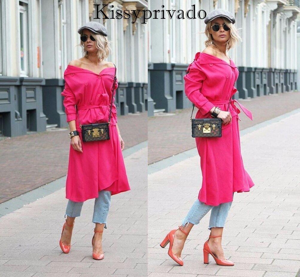 ZARA Fuchsia Chaud Rose à Volants trench coat M Bnwt 3427 028 bloggers favorite