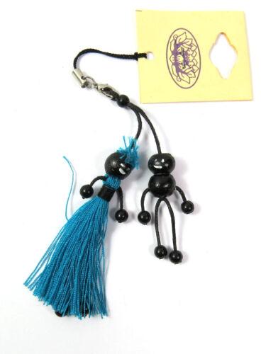 Un porte-clés mâles Perles personnage perles multicolores bois noir pendentif neuf