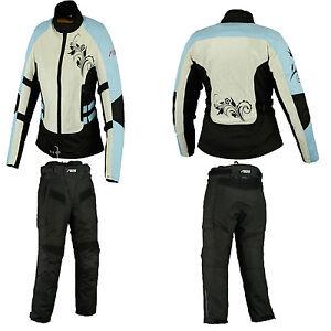 Damen-Textilkombi-Motorradkombi-Schwarz-Blau-Textilhose-Textiljacke-Gr-36-44