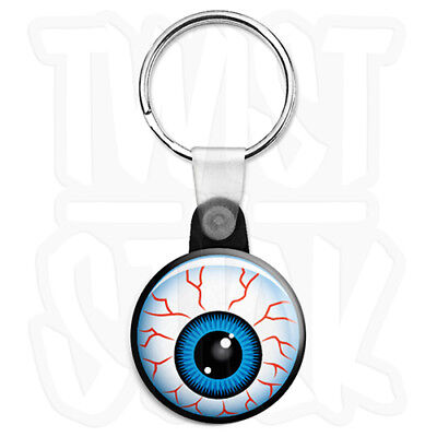 Red Eye Retro Eyeball 25mm Art Keyring Button Badge with Zip Pull Option