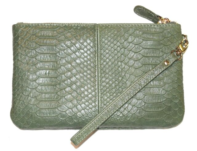 New Mighty Purse Leather Wristlet Inc Charger For All Phones Reptile Green