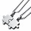 Collana-Coppia-Collane-Puzzle-Cuore-Uomo-Donna-Fidanzati-Ciondolo-Paio-Spezzato miniatura 3