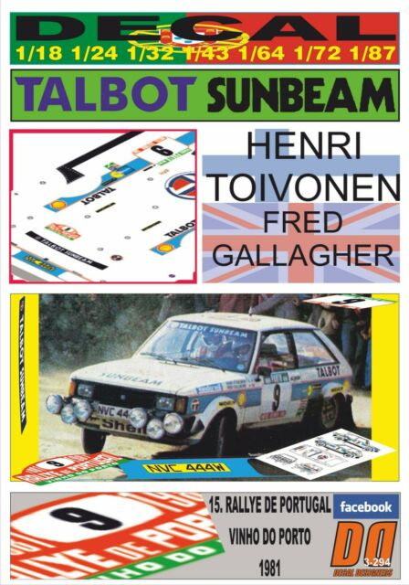 1984 2nd 05 DECAL TALBOT SUNBEAM LOTUS E.KIDNEY CIRCUIT OF IRELAND R