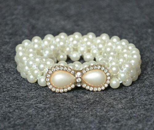 Donne Ragazze Moda Elegante Perla Perline Strass Charms cintura in vita cinturino Regalo