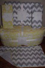 5pc NWT Pottery Barn Kids Georgia crib bumper sheet quilt skirt sham yellow gray