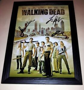 WALKING-DEAD-CAST-X3-PP-SIGNED-amp-FRAMED-PHOTO-POSTER-12-034-X8-034-ANDREW-LINCOLN