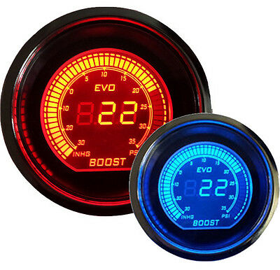 "2"" 52MM Digital Boost Vacuum Gauge Electric Boost EVO Series RED & BLUE HK"