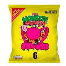 Walkers Monster Munch Roast Beef Snacks 6 x 22g - Sold Worldwide From UK