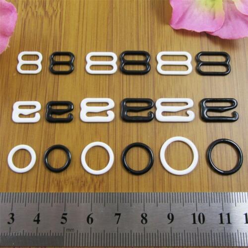 10pcs PLASTIC COATED METAL BRA STRAPS AJUSTMENTS BITS SLIDERS O RINGS HOOKS