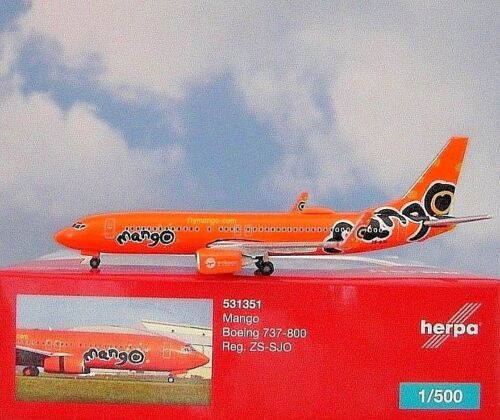Herpa Wings 1:500 boeing 737-800 mango ZS-SJO 531351 modellairport 500