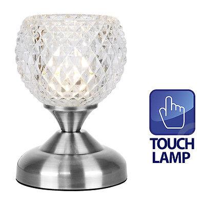 TOUCH Modern Silver Chrome & Glass Touch Bedside Desk Table Light Lamp Lighting