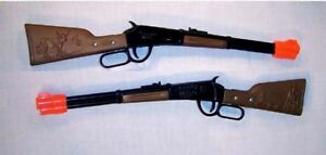 2-WESTERN-LEVER-RIFLE-cowboy-fun-guns-toy-CAP-gun-NEW-die-cast-vintage-style-new