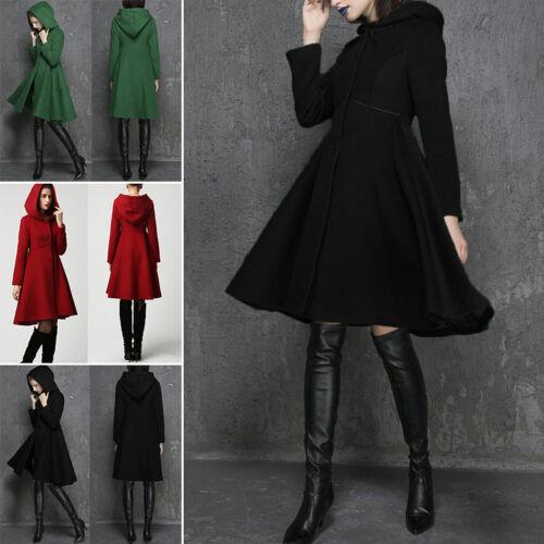 Trench Coat Women Winter Hooded Wool Blends Long Jacket Outwear Parka Overcoat