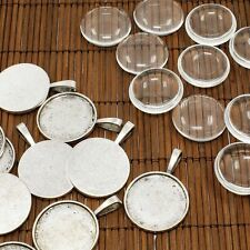 10sets Antique Silver Clear Domed Magnifying Glass Cabochon Photo Pendant Making
