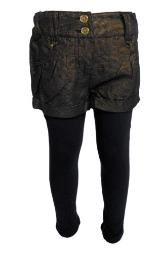F/&F Girls Black Gold Sparkly Shimmer Party Shorts And Legging Set Outfit 5-14yrs