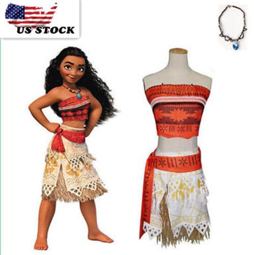 New princess Moana Girls /& Women Kids /& Lady/'s Dress 5 piece Set Cosplay B3