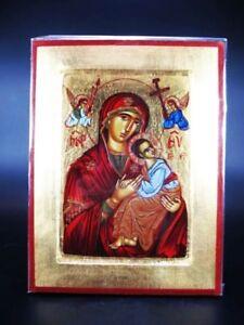 Icône , Byzance,madonna Passion La Sündenfreie,24 Cm Icon Grèce Bois Massif