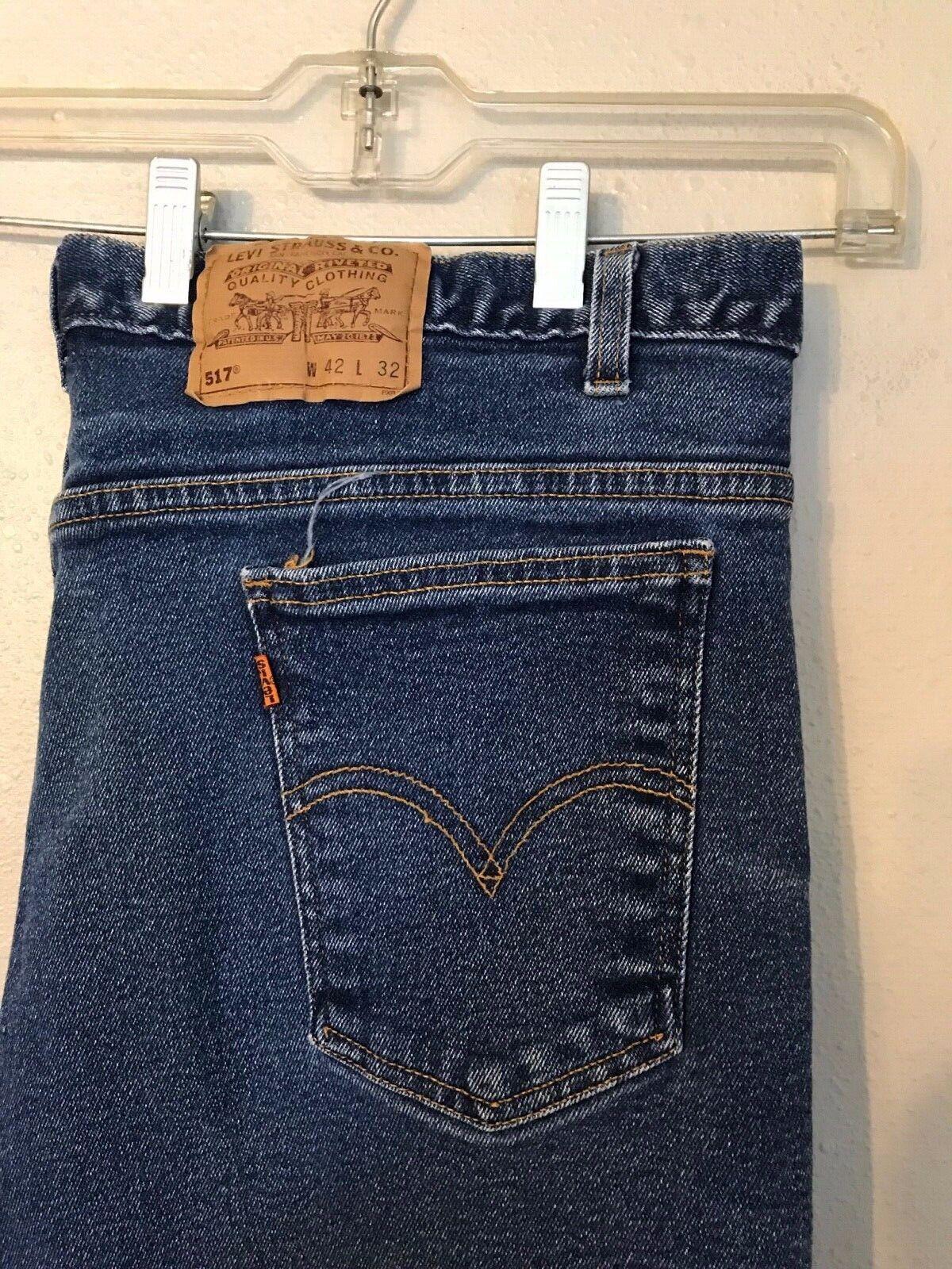 Vintage 517 orange Tab Stretch Mens 7 Belt Loop Jeans 39x27 Made in USA