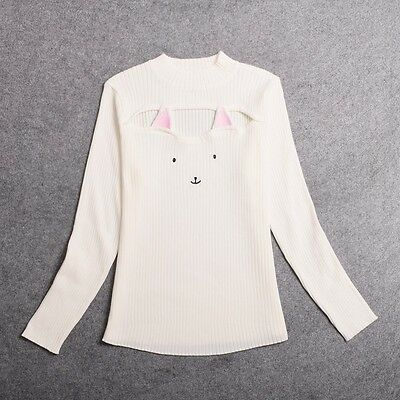 Hot Sexy Harajuku Open Chest Cat Sweater Slim fit Lolita Girls Woman Japanese