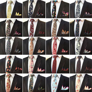 Hommes-Coton-Paisley-Fleur-Cravate-Mouchoir-Cravate-Mouchoir-De-Poche-Set-Lot-de-NEUF