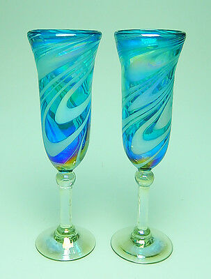 Champagne Flutes, hand blown, Turquoise with White Iridescent swirls, set of 2