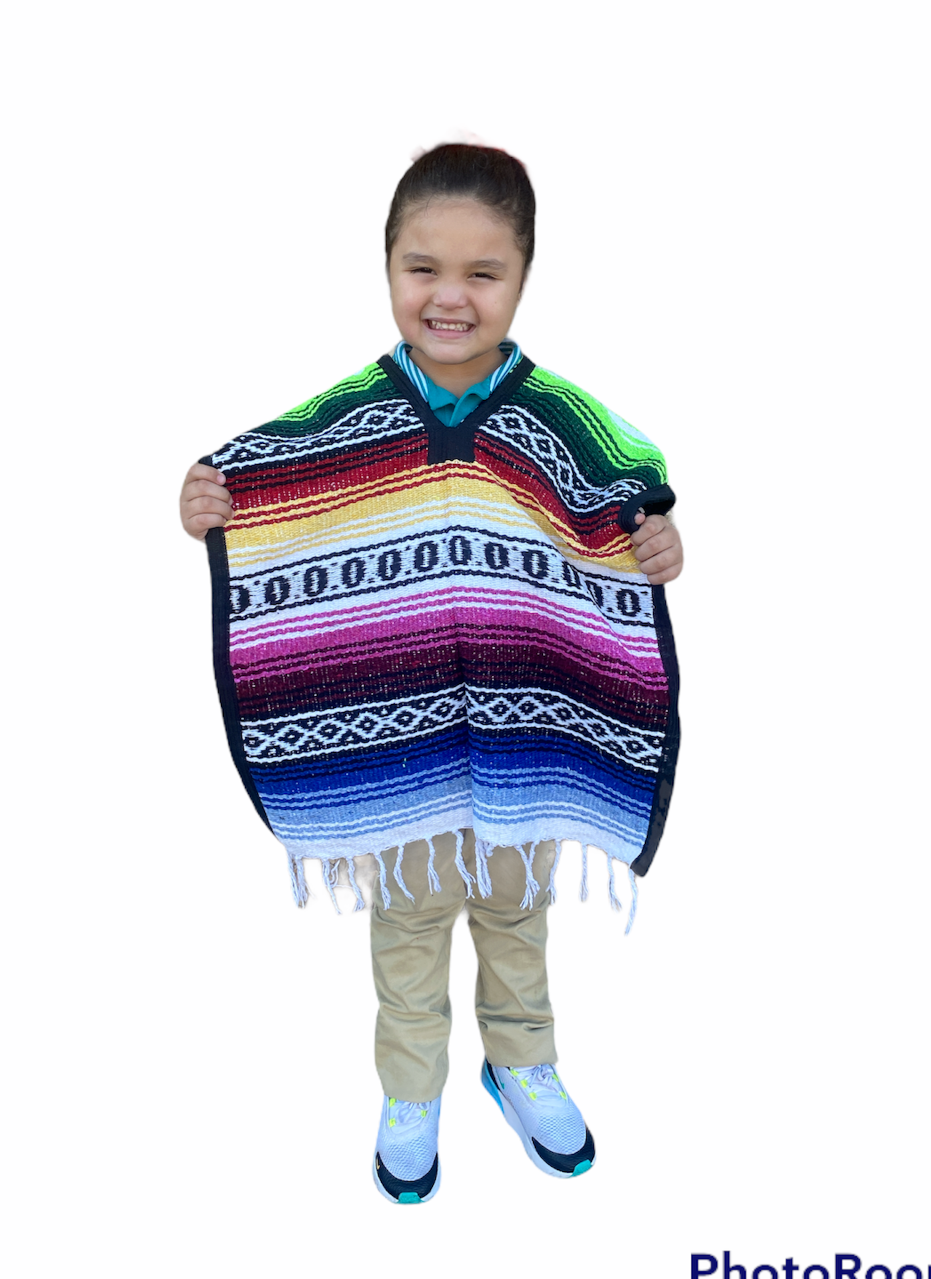 MEXICAN KIDS PONCHO , FALSA , COSTUME ,BLANKET SERAPE GABAN , 5 - 9 , MULTICOLOR