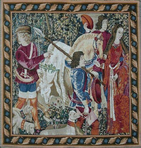Tissé Tapisserie Panneau-Licorne prises pour le château grand 49x 49 cm environ