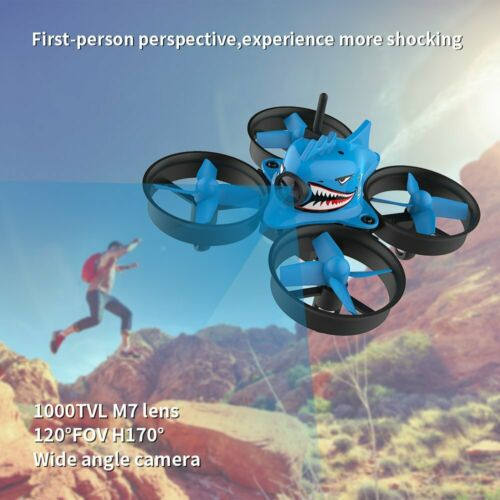 Micro FPV Racing Drone With Goggles Camera RTF Tiny Whoop Quardcopter Blue Shark