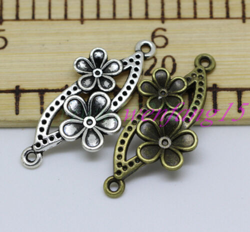 Jewelry Tibetan silver Charms Flowers connector pendant 10-150pcs 37x19mm 2.2g