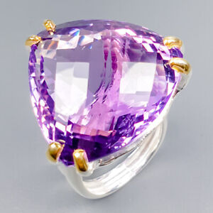 Handmade35ct-Natural-Amethyst-925-Sterling-Silver-Ring-Size-8-5-R120476