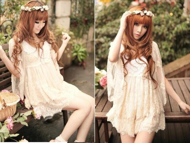 Kawaii Princess Cute Sweet Dolly Wedding batwing Sleeve Lolita Cotton Lace Dress