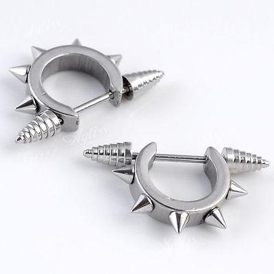 2x Stainless Steel 18g Spike Rivet Hoop Nipple Shield Bar Rings Piercing Punk