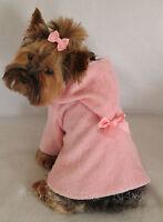 Xxxs Pink Terry Cloth Hooded Dog Bathrobe Clothes Pet Apparel Pc Dog®