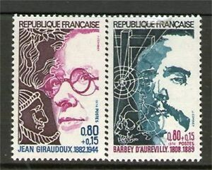 SERIE-TIMBRES-1822-1823-NEUF-XX-LUXE-JEAN-GIRAUDOUX-BARBEY-D-039-AUREVILLY