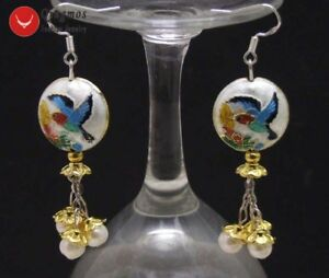 18mm-Round-White-Cloisonne-amp-6-7mm-White-Natural-Pearl-Dangle-Earring-for-Women
