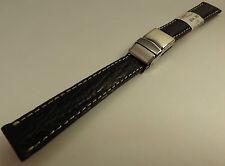 ZRC France Black Shark 16mm Watch Band Steel Deployment Sealock Clasp $34.95