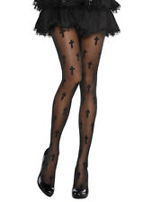 Women Womens Lady Ladies Halloween Party Fancy Dress Costume Black Cross Tights